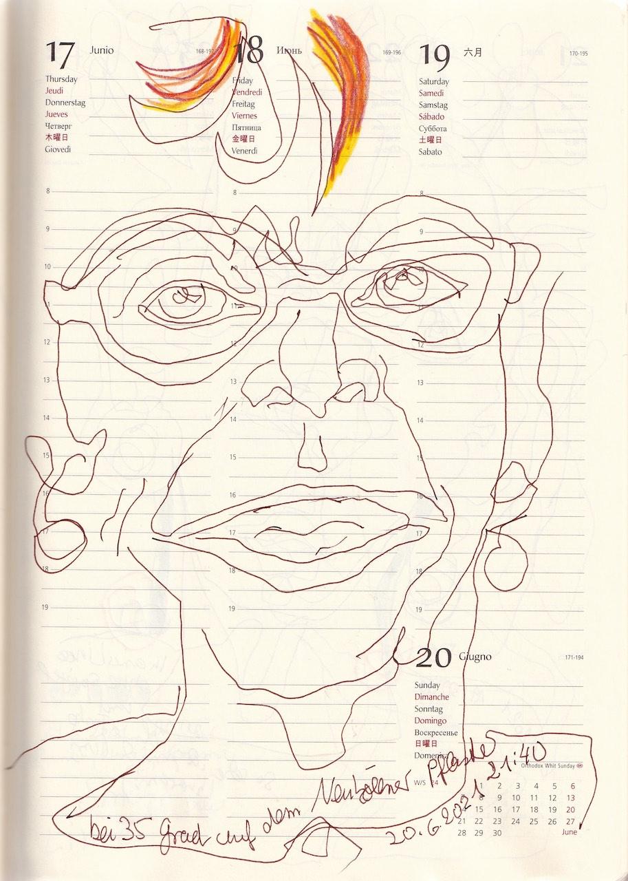 Selbstbildnisstagebuch 10.6. - 25.7.2021, Zeichnung von SusanneHaun (c) VG-Bild-Kunst Bonn 2021