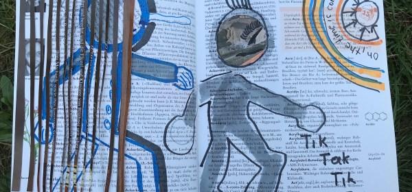 Tik Tak Tik Tak, 24 x 37 cm, Marker auf Brockhaus, Aneignung, Zeichung von Susanne Haun (c) VG Bild-Kunst, Bonn 2021