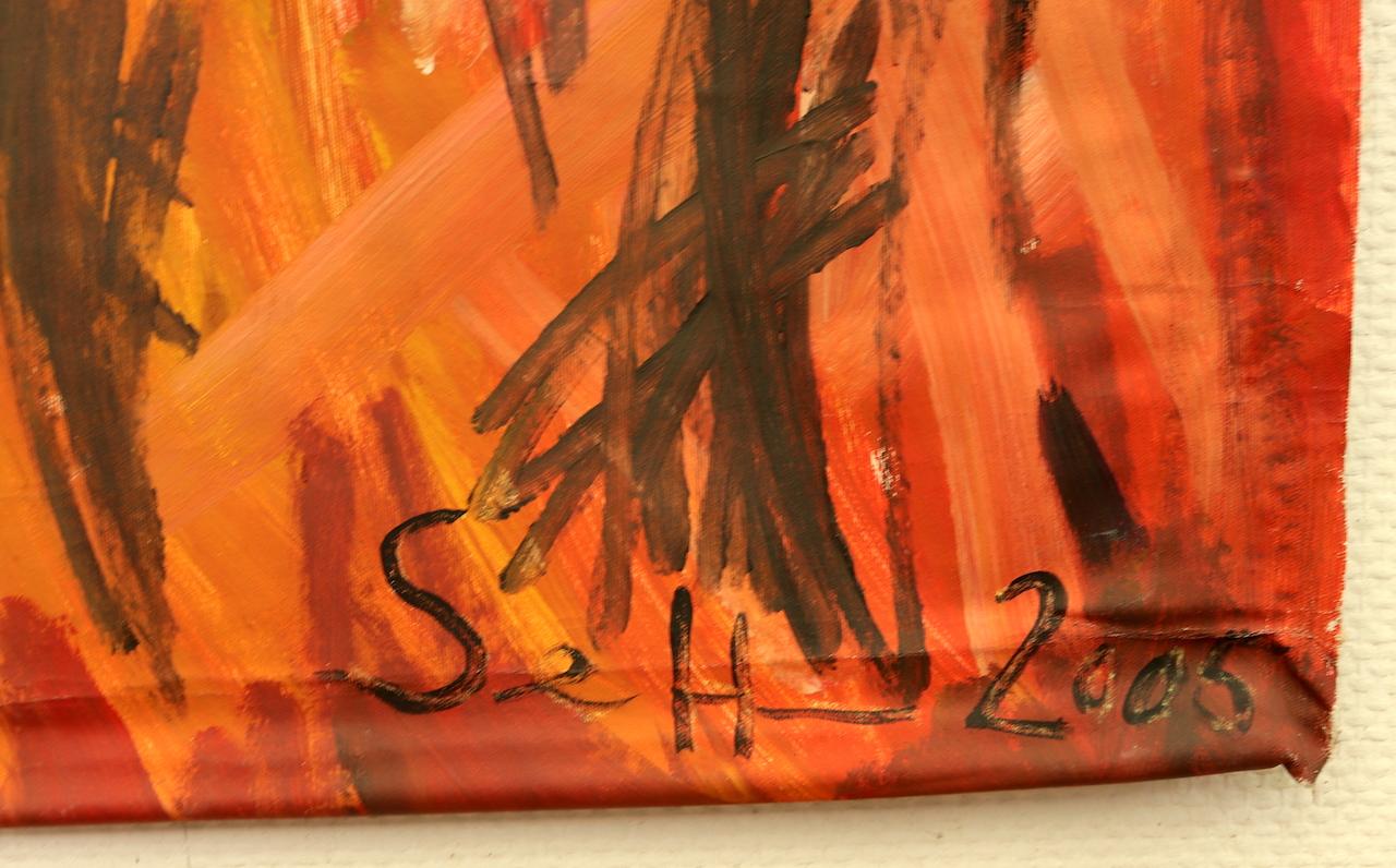 Hahn im Feuer, Gemaelde von Susanne Haun, 2005, 150 x 50 cm (c) VG Bild-Kunst, Bonn 2021