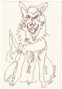 Tagebucheintrag 01.08.2021, Der Wolf, Jäger und Gejagter, Version 2, 20 x 15 cm, Tinte auf Silberburg Büttenpapier, Zeichnung von Susanne Haun (c) VG Bild-Kunst, Bonn 2021