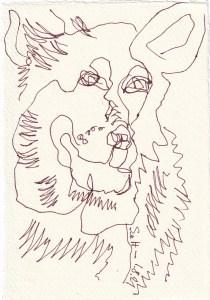 Tagebucheintrag 01.08.2021, Der Wolf, Jäger und Gejagter, Version 4, 20 x 15 cm, Tinte auf Silberburg Büttenpapier, Zeichnung von Susanne Haun (c) VG Bild-Kunst, Bonn 2021