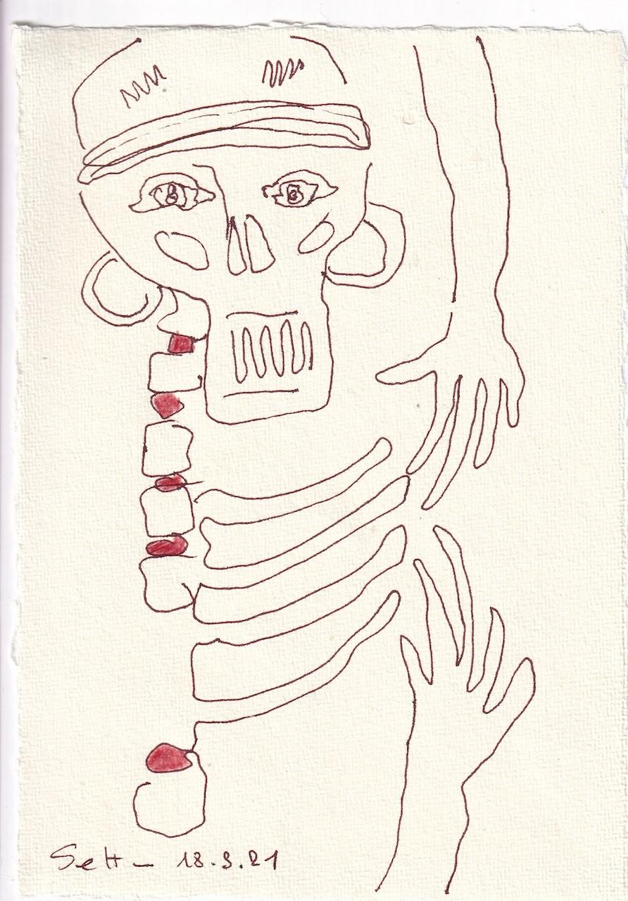 Tagebucheintrag 18.08.2021, Dekameron, Fürbitte, Version 2, 20 x 15 cm, Buntstift und Tinte auf Silberburg Büttenpapier, Zeichnung von Susanne Haun (c) VG Bild-Kunst, Bonn 2021