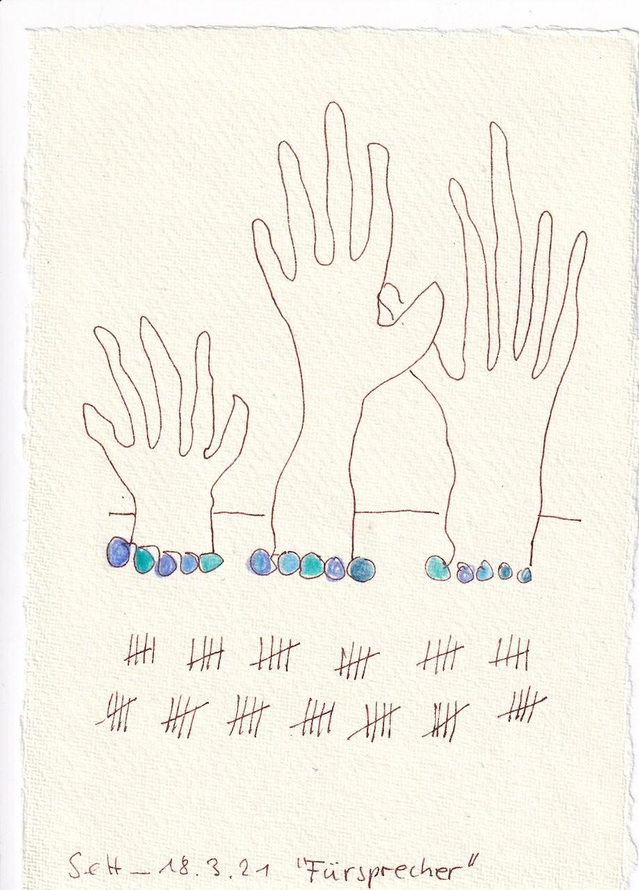 Tagebucheintrag 18.08.2021, Dekameron, Fürsprecher, Version 1, 20 x 15 cm, Buntstift und Tinte auf Silberburg Büttenpapier, Zeichnung von Susanne Haun (c) VG Bild-Kunst, Bonn 2021Tagebucheintrag 18.08.2021, Dekameron, Fürsprecher, Version 1, 20 x 15 cm, Buntstift und Tinte auf Silberburg Büttenpapier, Zeichnung von Susanne Haun (c) VG Bild-Kunst, Bonn 2021