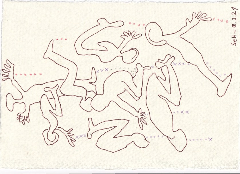 Tagebucheintrag 18.08.2021, Dekameron, Fürsprecher, Version 2, 20 x 15 cm, Buntstift und Tinte auf Silberburg Büttenpapier, Zeichnung von Susanne Haun (c) VG Bild-Kunst, Bonn 2021