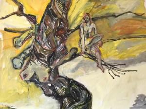 Bist du der Baum des Lebens? inspiriert von Hermann Hesses Piktors Verwandlung, Gemaelde von Susanne Haun, 280 x 140 cm (c) VG Bild-Kunst, Bonn 2021