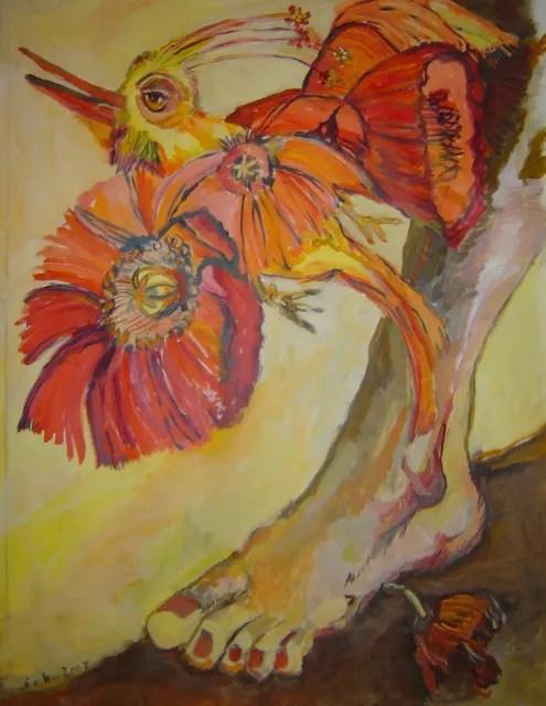 Der neue Falter aber, der frohe bunte Vogelschmetterling, Gemaelde von Susanne Haun in der Klosterscheune Zehdenick (c) VG Bild-Kunst, Bonn 2021
