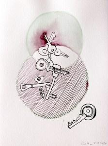2 Belonging, 32 x 24 cm, Tusche auf Aquarellkarton, Zeichnung von Susanne Haun (c) VG Bild-Kunst, Bonn 2021