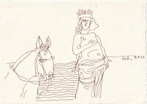 Tagebucheintrag 13.09.2021, Der Prinz auf dem weißen Pferd, 20 x 15 cm, Buntstift und Tinte auf Silberburg Büttenpapier, Zeichnung von Susanne Haun (c) VG Bild-Kunst, Bonn 2021