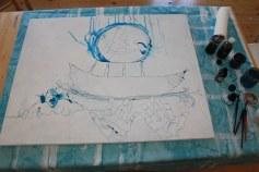 Entstehung Dantes Barke des Vergessens (c) Zeichnung auf Leinwand 80 x 100 cm