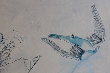 Zugvogel - Ausschnitt aus Dantes Barke des Vergessens (c) Zeichnung von Susanne Haun
