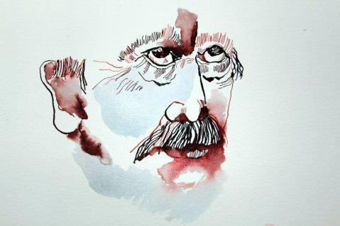 Entstehung Portrait Bismarck - Version 1 - 40 x 30 cm - Tusche auf Aquarellkarton Britannia (c) Zeichnung von Susanne Haun