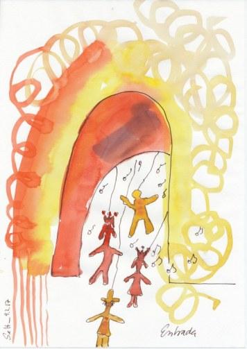 # 1-1-1 Dante Alighieri Entrada - 20 x 30 cm - Tusche und Aqaurell auf Skizzenpapier (c) Zeichnung von Susanne Haun
