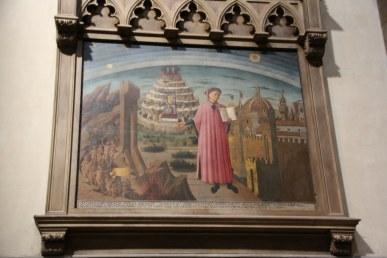 Dante und sein berühmtes Epos - Fresko von Domenico di Michelino in Santa Maria del Fiore, Florenz 1465 (c) Foto von Susanne Haun