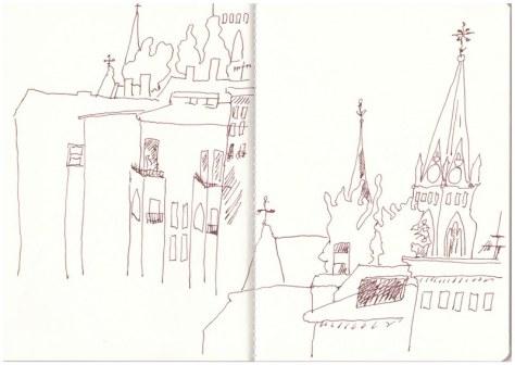Auf meinem Balkon mit Blick auf die Nazarethkirche (c) Zeichnung von Susanne Haun