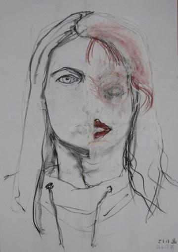 Teilweise übermaltes Selbstportrait von Heike Schnitter - 43 x 60 cm - Kohle, Rötel, Softpastell (c) Heike Schnittker u. Susanne Haun
