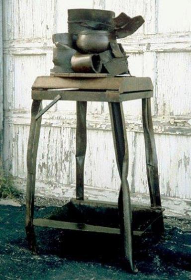 """Hot Pot"", 2001, Welded Steel,Painted, 62""Hx 30""W x 30""D"
