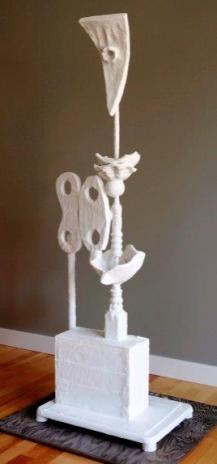 """""""Shell Collector"""", 2013, Wood, Ceramic and Plaster, 56.5""""H x 20""""D x 14.5""""W"""