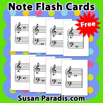 This is a photo of Fan Music Note Flashcards Printable
