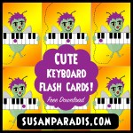 Play games with cute flash cards that feature piano keyboards