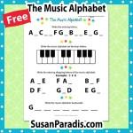 Beginning student practice writing the music alphabet.