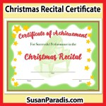 Christmas Recital Certificate to pass out after your music recital.
