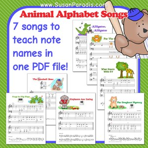 Seven mini-songs to teach note reading.
