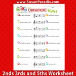 This worksheet is to help students learn intervals of fifths, thirds, and seconds.