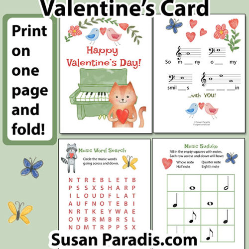 Give this cute Valentine card to your music students this year! It a freebie!