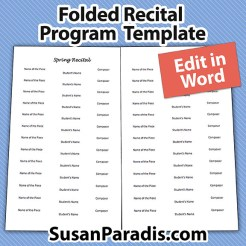 Editable folder music recital program