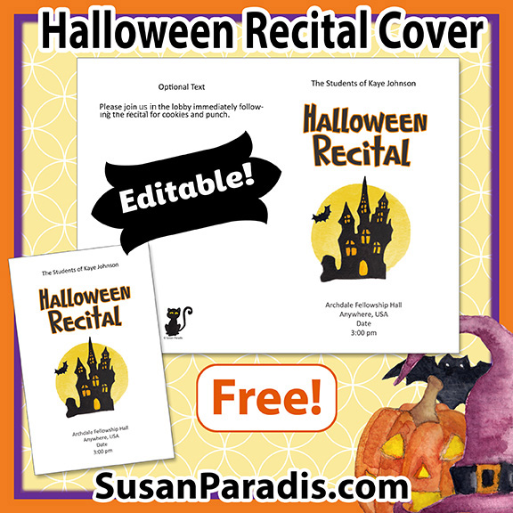 A cute program cover for piano and music Halloween recitals