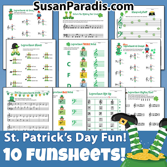 This set of 10 decorated St. Patrick's Day theory sheets will delight your students!