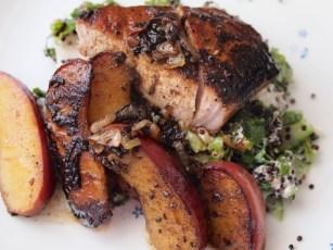 Pork sirloin with sauteed apple and black quinoa salad