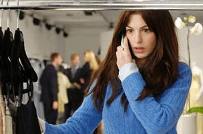 Anne Hathaway in The devil Wears Prada, blue sweater
