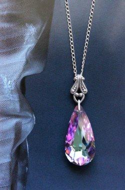 Swarovksi Crystal Teardrop Necklace with Filigree Detail