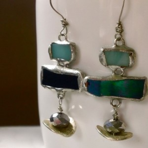 Mimi and Moi, $47, Etsy earrings, eco friendly jewerly, iridescent, casual earrings