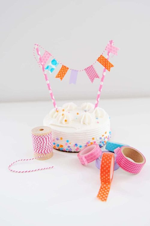DIY washi tape bunting for cakes and cupcakes