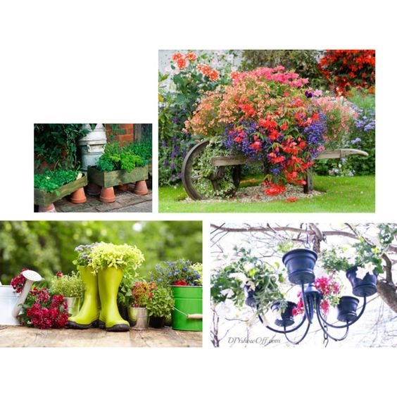quirky charming container garden style for the cottage garden