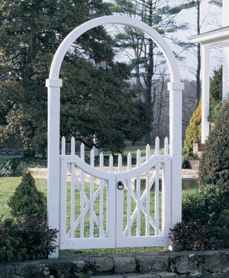 Instant Cottage Garden Style? Just Add Structure! Cottage Garden Style, Double gate arch from Walpole Woodworkers.