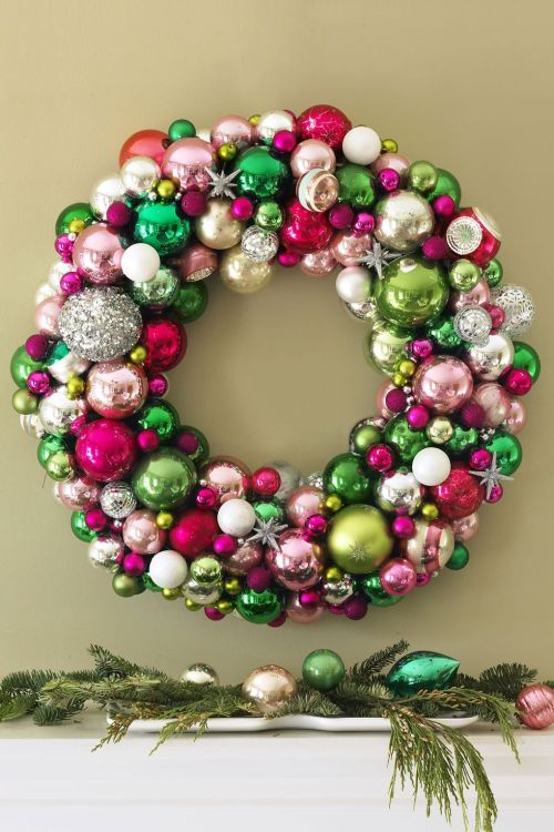 A Christmas wreath made from ornaments is a stunner!
