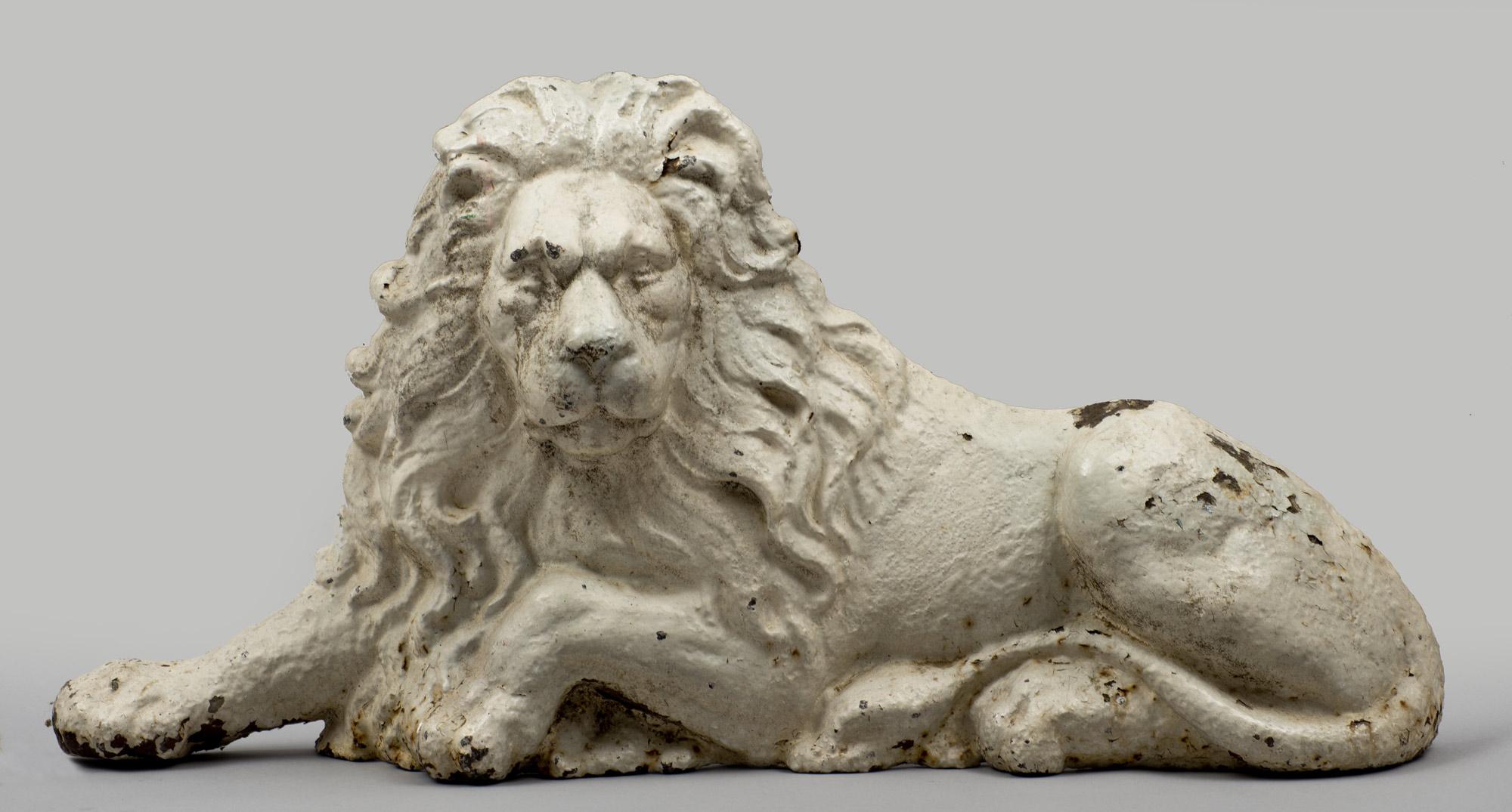 Product  Antique Cast Iron Painted Unicorn Lion