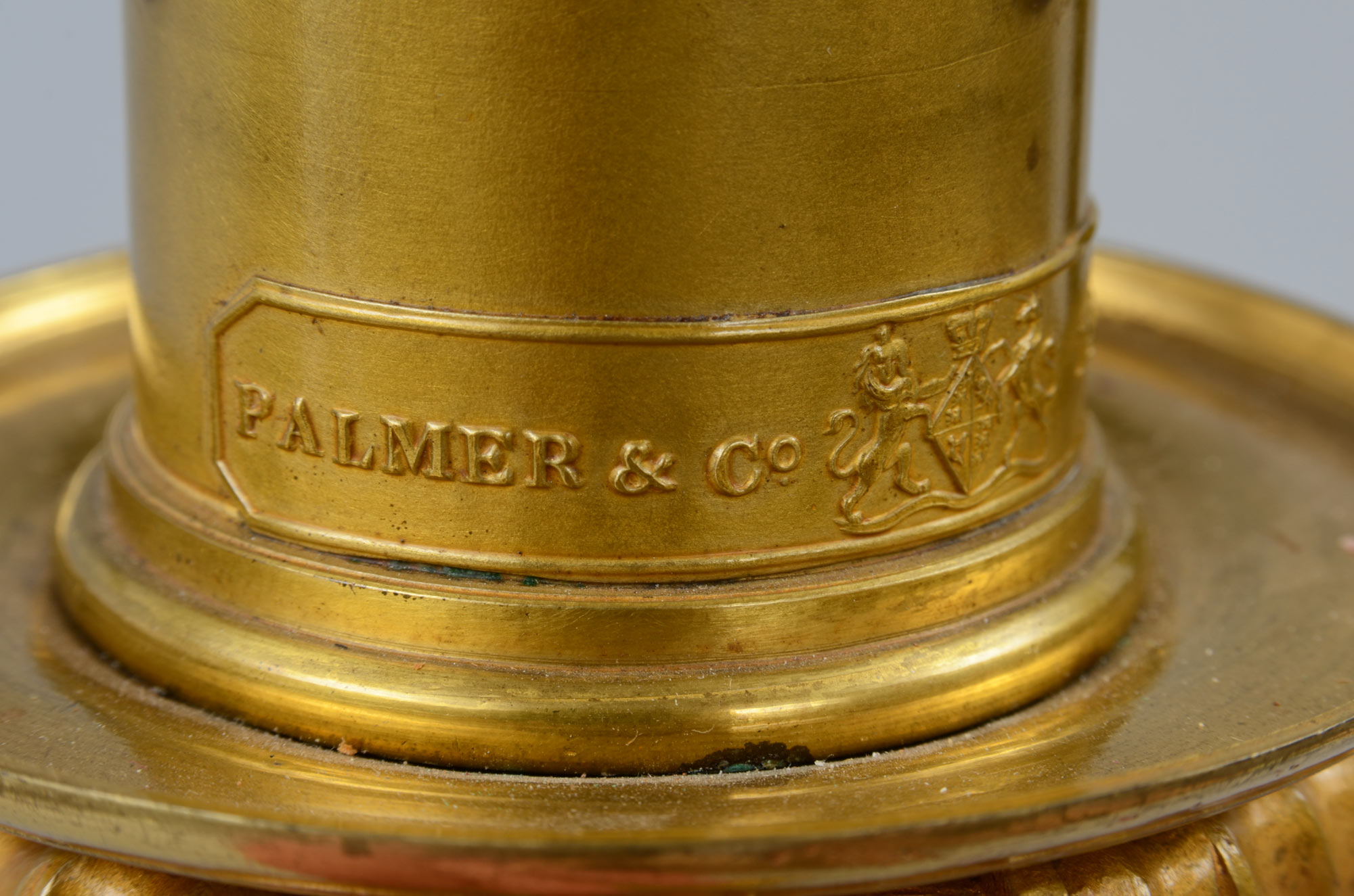 palmer sofa freedom empire review regency brass column lamp, circa 1825