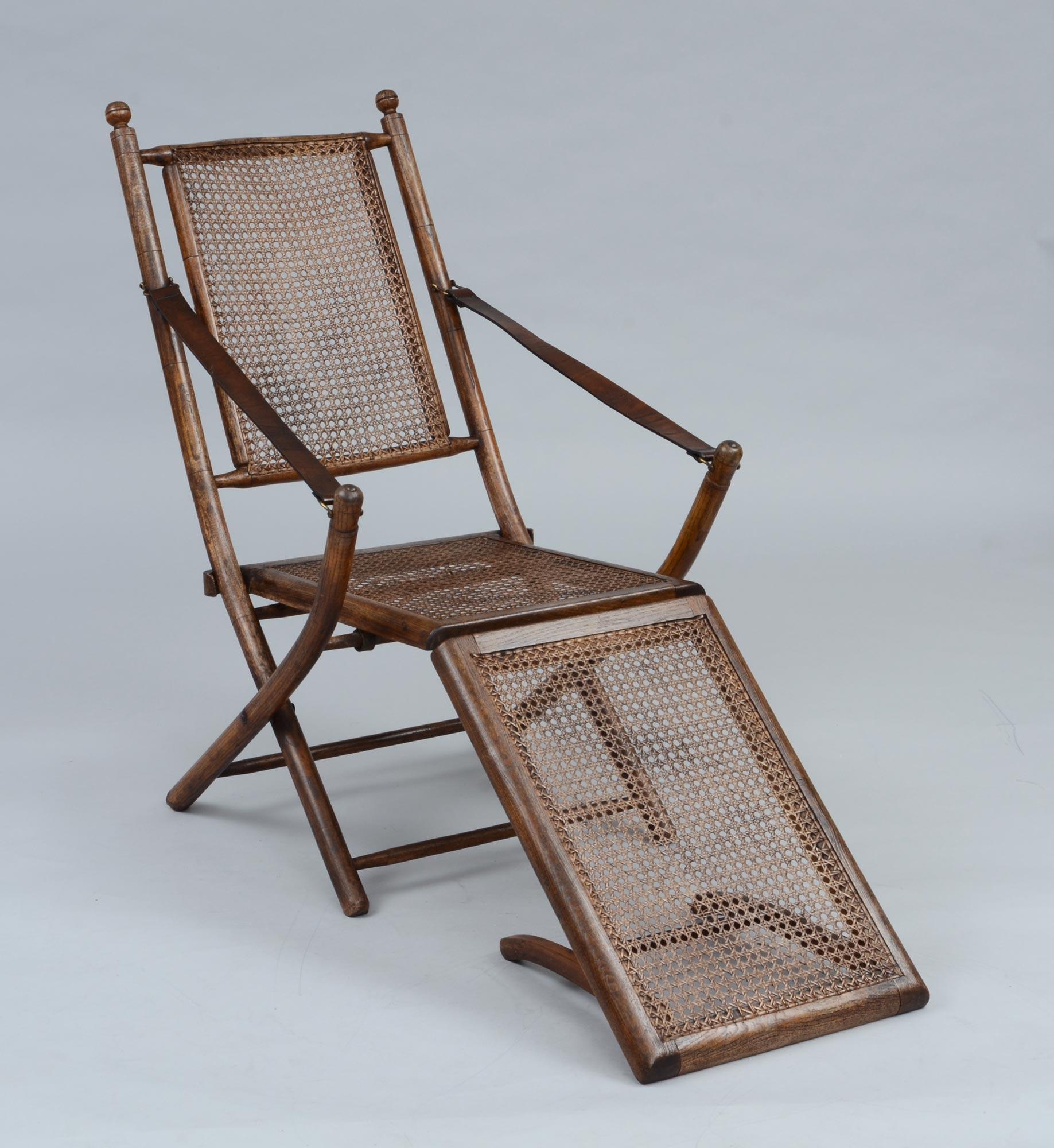Antique Deck Chairs  Folding Oak Caned Antique Deck Chair