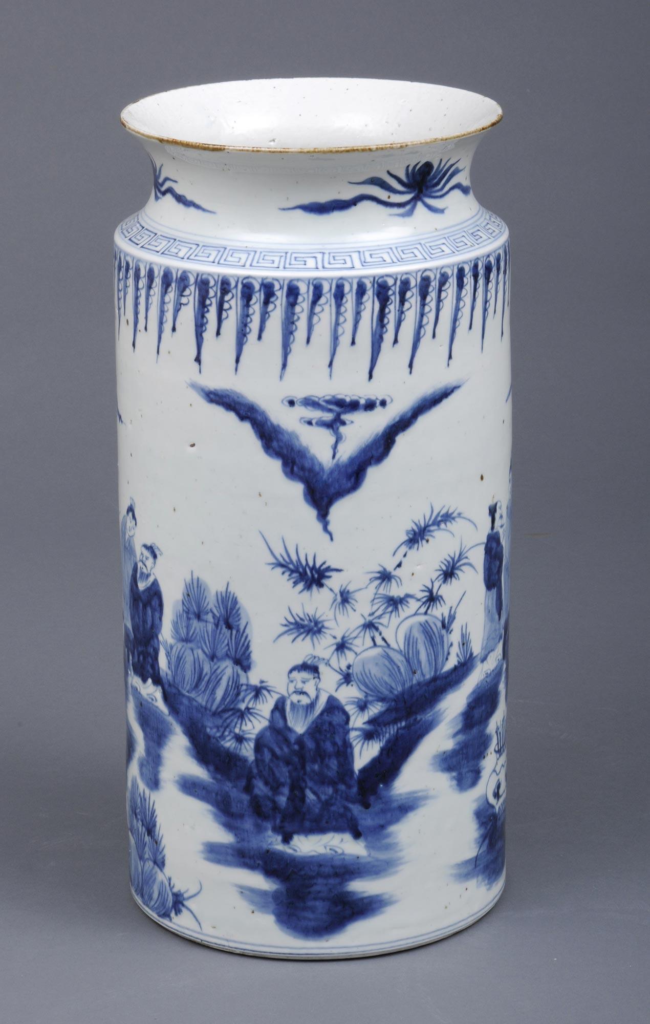 Large Chinese Export Cylindrical Open Vase