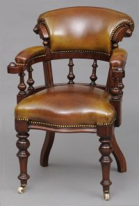 Antique Desk Chair | English Antique Mahogany & Leather ...