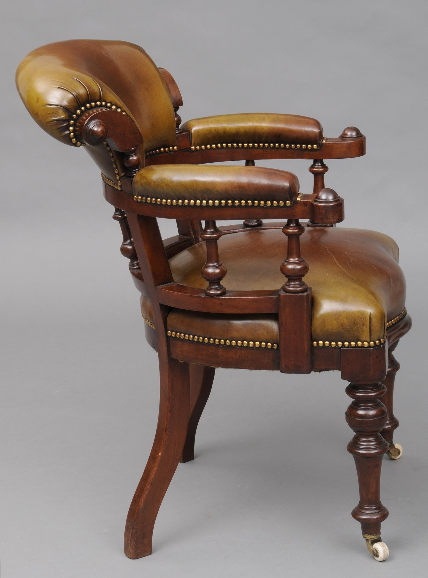 Antique Desk Chair  English Antique Mahogany  Leather