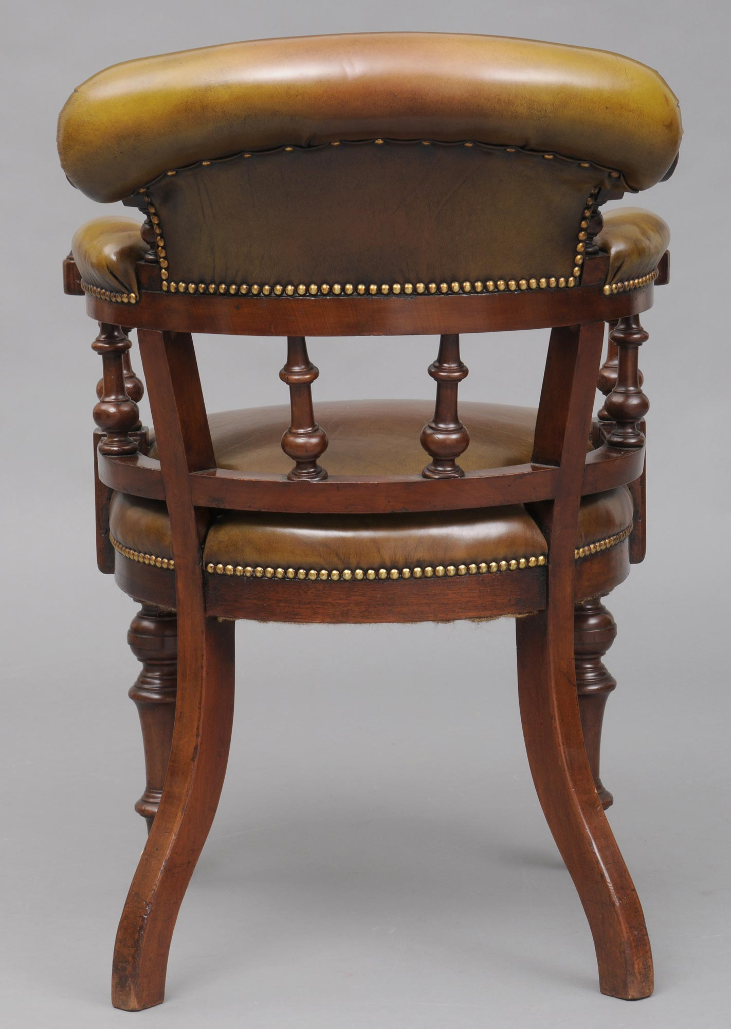 antique mahogany office chair windsor bow back chairs desk english and leather