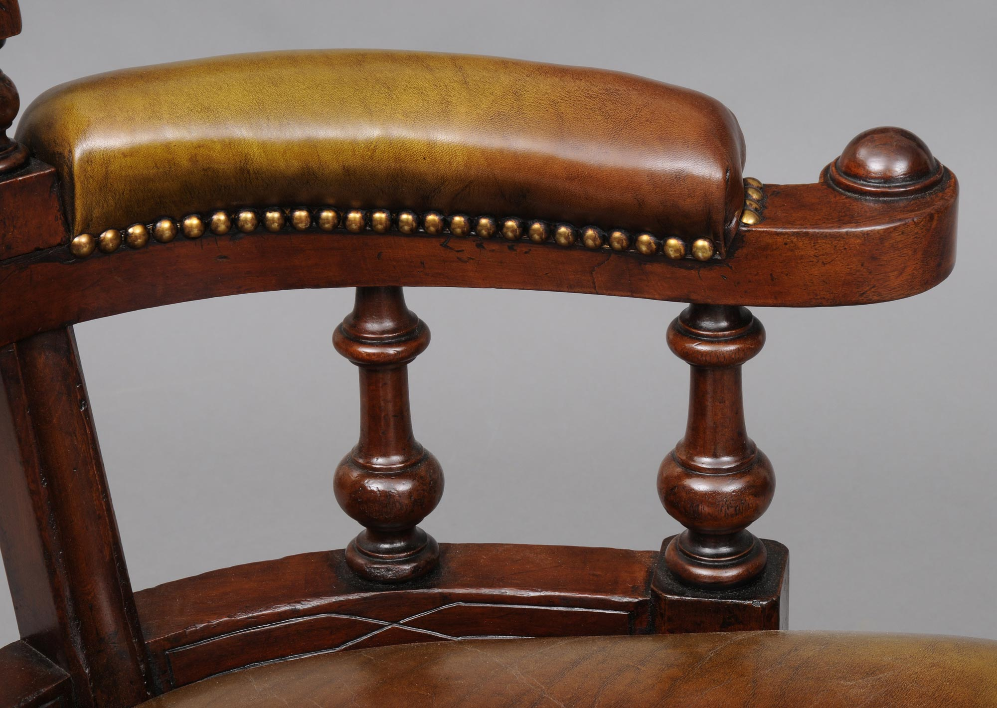 antique mahogany office chair hanging indoor desk english leather victorian circa 1870