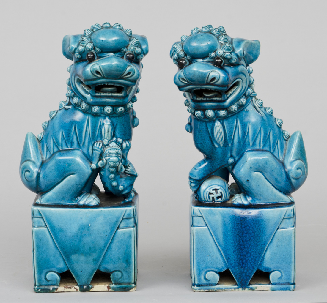 Product  Chinese Pair Turquoise Foo Dogs