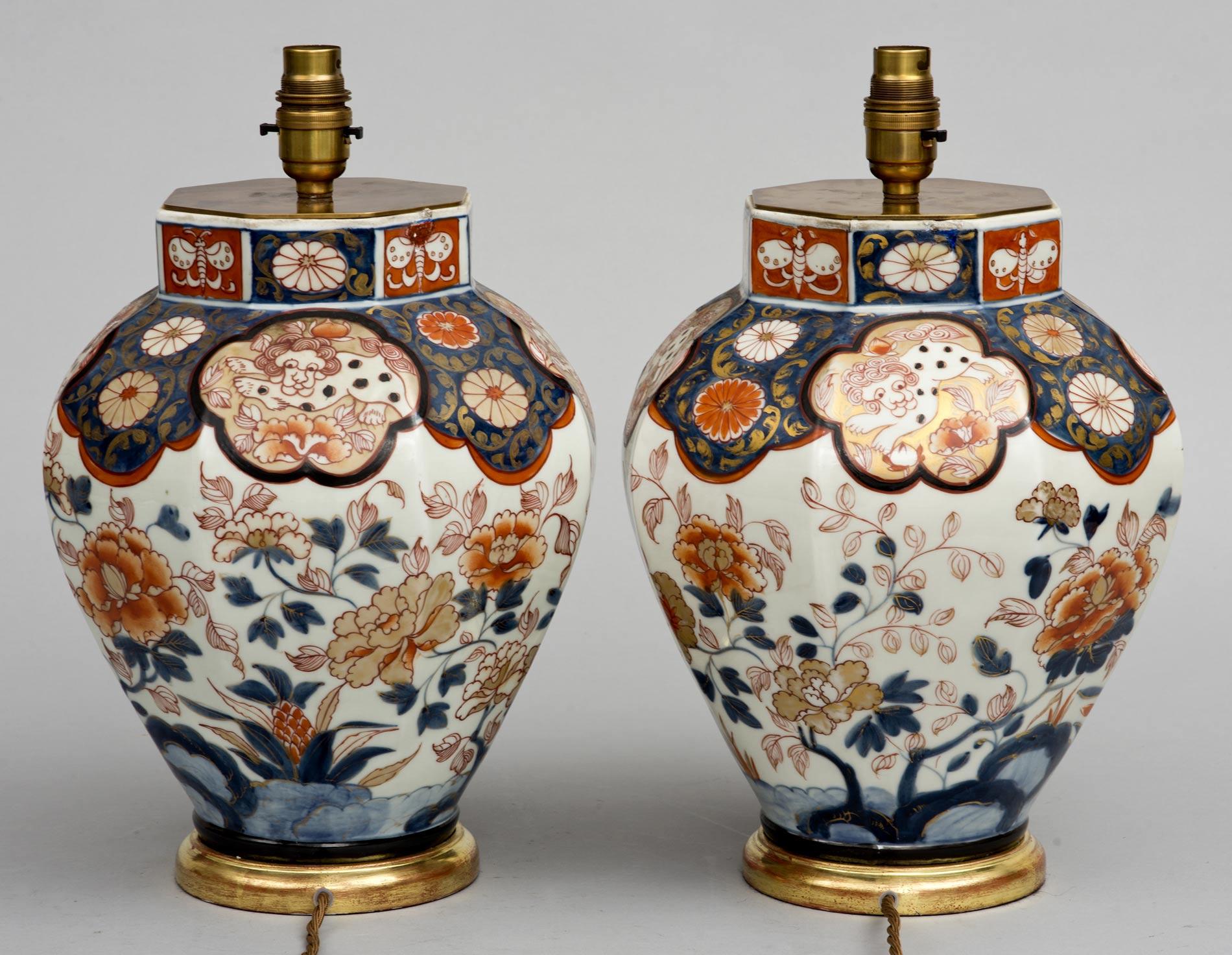 Antique Pair Imari Vase Lamps Circa 1840