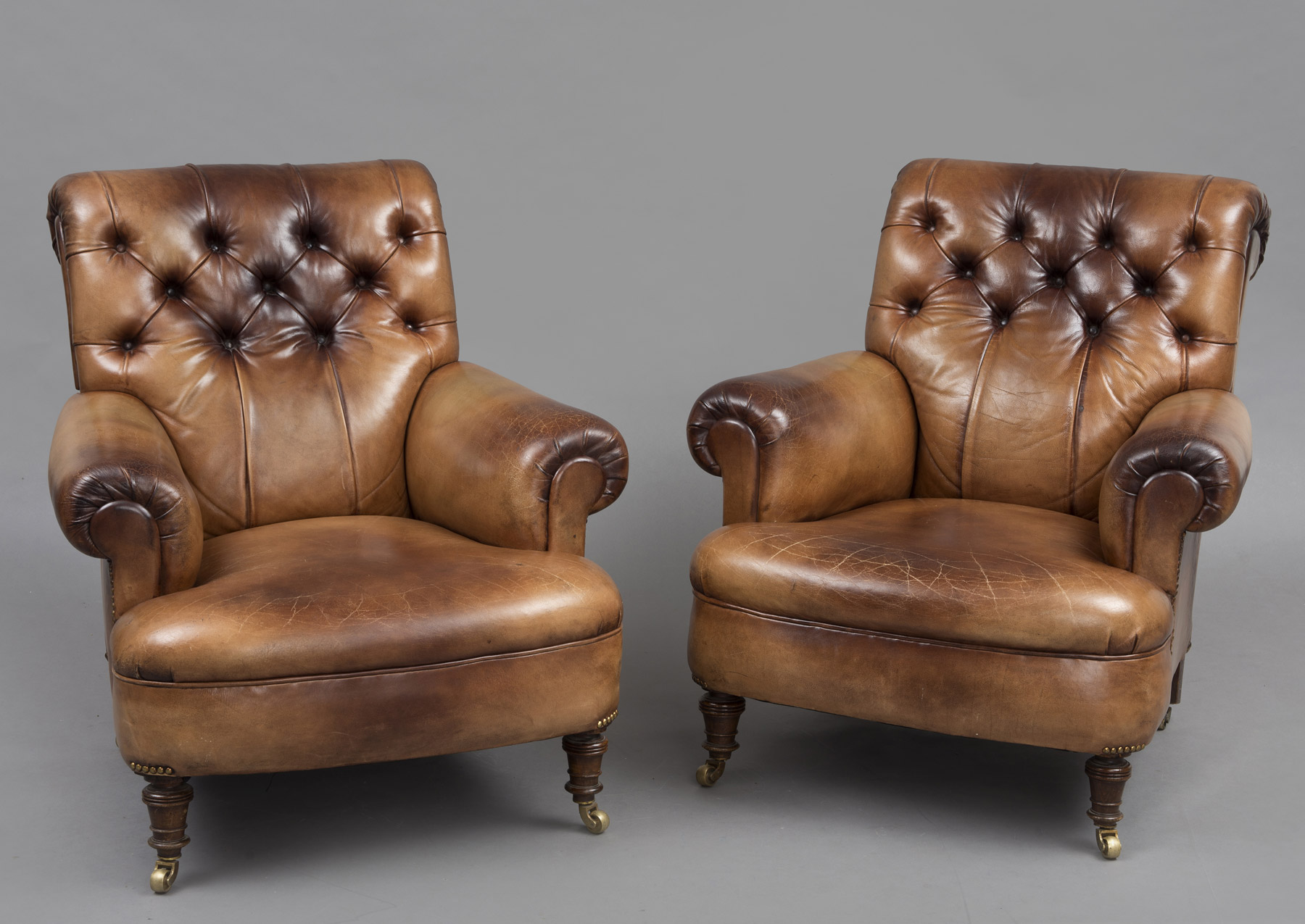 Product Antique English Pair Leather Club Chairs